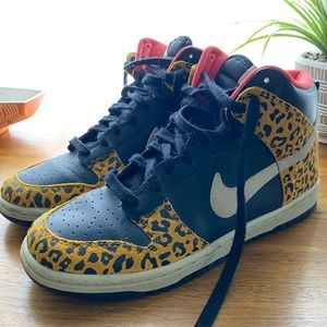 Nike Dunk High Skinny Leopard Sneakers- Size 7.5